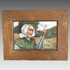 Antique oil painting of farmers wife signed Henrie Pitcher dated 1907