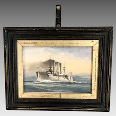 Antique watercolour painting study of American battleship USS Brooklyn dated 1903