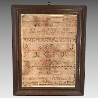 Antique framed religious embroidery sampler dated 1834