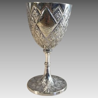 Antique Gothic silver plated military ornate engraved prize goblet dated 1864