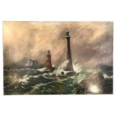 Antique maritime oil painting seascape of lighthouses and sailing ships by AE Mileson