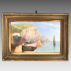 Antique maritime coastal painting study in oil of sailboats and cliffs