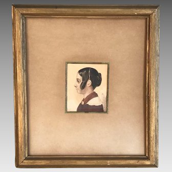Antique English early Victorian framed watercolour painting of girl young lady born 1824