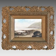 Antique watercolour painting of coastal scene at Scarborough, Yorkshire in carved frame