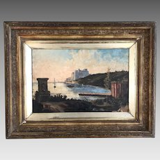 Antique landscape in oil of harbour with sailing ships and fortress in background