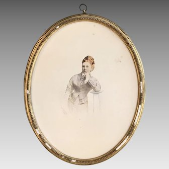 Antique portrait of young lady in gesso frame