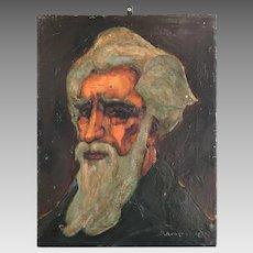 Antique signed portrait in oil of bearded gentleman