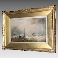 Antique Victorian maritime watercolour painting by TS Robins RWS dated 1868