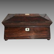 Antique sarcophagus mahogany tea caddy mother of pearl inlay cranberry beaker circa 1875