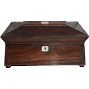 Antique sarcophagus mahogany tea caddy mother of pearl inlay cranberry beaker circa 1875