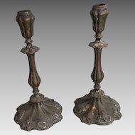 Pair antique French Rococo late Baroque circa 1800 bronze candlesticks