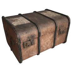 Antique miniature travel trunk from Godwin Girls College Margate Kent England with old labels
