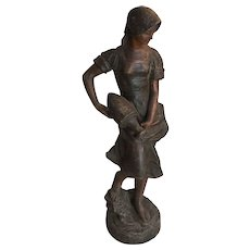 Antique French Art Nouveau bronze statue woman signed Julien Causse