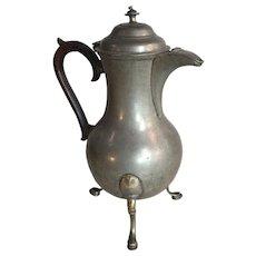 Antique English Georgian Pewter wine or claret jug on tripod legs