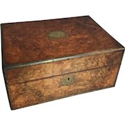 Antique walnut vanity box dated 1878 with cut glass and silver plated pots