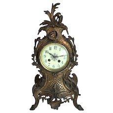 Antique French bronze mantel clock ornate Baroque style Napoleonic era