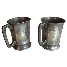 Couple antique pewter Pint tankards from Fox and Goose public house West Thurrock Essex England engraved initials