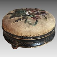 Antique Victorian ebonised pine beaded needlepoint footstool