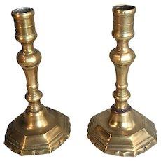 Pair antique French 17th Century brass candlesticks circa 1680