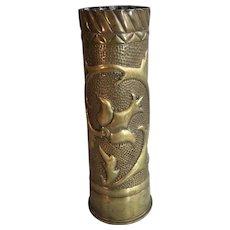 Antique First World War WW1 Trench Art brass worked vase dated 1916