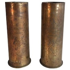 Pair antique First World War WW1 Trench Art vases engraved 1914-1918