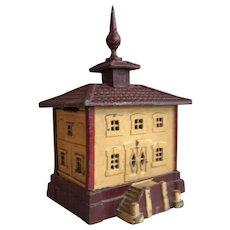 Antique French metal moneybox Bureaux Caisse