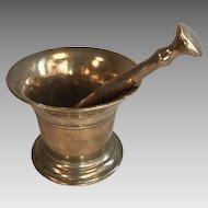 Antique English Georgian large bronze pestle and mortar