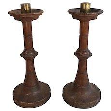Pair Antique English Victorian Oak Ecclesiastical Church Candlesticks
