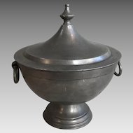 Antique Continental pewter tureen with handles and finial
