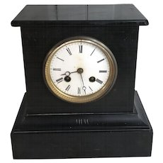 Antique English 19th Century marble mantel clock with enamel face