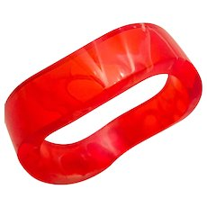 Bright Summer Red Lucite Transparent Marble Wavy Cuff Bracelet 1980's.