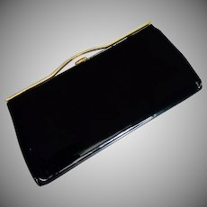 Vintage 1950's Black Patent Clutch with Gold-tone Frame