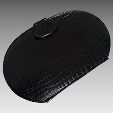 Genie  Vintage 1970's Black Patent Alligator Textured Structured Oval Purse