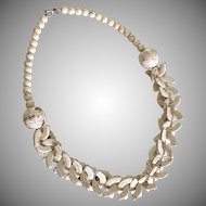 Textural Designed Mixed Material Stone and Faux Bone Necklace 1970's