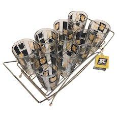 MCM  Bar Set 8 Glasses Black/Gold Leaves Brass Holder Karmax Original Tag