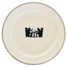 Silhouette by Hall Tavern Conversation Bread and Butter Plate 1950