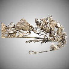 Bridal Wedding Tiara  Filigree Swarovski Crystals set in Silver Plate