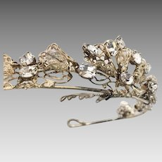 Bridal Wedding Tiara  Filigree Swarovski Crystals set in Silver Plate