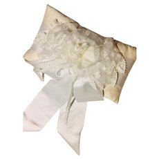 Vintage Dupioni Silk Wedding/Bridal  Pillow Satin Picot Organza Hand-Rolled Flower Ribbons