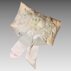 Vintage Dupioni Silk Wedding/Bridal  Pillow Satin Picot Organza Hand-Rolled Flower Ribbons