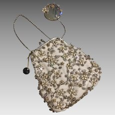 Paris by Debra Moreland Couture Bridal Purse Set Hand Enamel Flowers Crystal Silk Velvet
