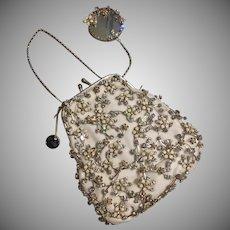 Paris by Debra Moreland Couture Bridal Purse Set Hand Enamel Flowers Crystal Silk Velvet