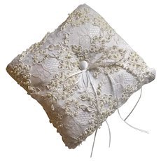 Bridal Wedding Ringbearer Pillow Vintage Alencon Beaded Lace Silk Satin