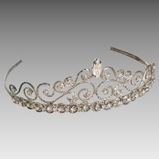 Bridal Tiara Crown Steel Cut w/ Swarovski Crystals Vintage