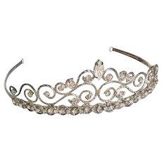 Steel Cut Bridal Tiara Set with Swarovski Crystals Vintage