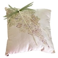 Vintage Dupioni Silk Ring Bearer Pillow  Hand Painted Accented with Crystal