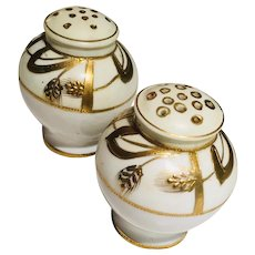 Porcelain White with Gold Salt & Pepper Shakers Swirled Wheat