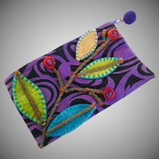 Rising Tide Vintage Cosmetic Pouch Fair Trade Hand Crafted Wool Felt Nepal