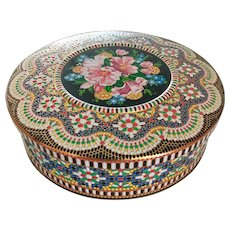 English Floral Embossed Mosaic Vintage Biscuit Cookie  Tin Mid Century Daher