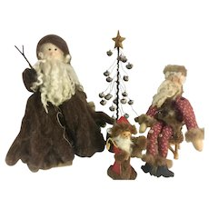 Christmas Folk Art Vintage Decor Set Mohair, Fabric, Mink, Fur, Wood, Leather, Metal